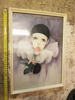 Mira Fujita, dombornyomott vintázs képe, szép keretben, üveg mögött