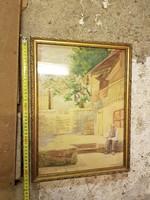 Németh E.szignós, remek akva, szép keretben, méret jelezve