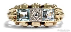 Art deco 14k gyuru aquamarine kovel s gyemantal
