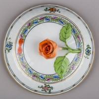 Herendi színes indiai kosár mintás cukortartó fedő narancs rózsával