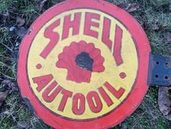 Kétoldali Shell Autooil Régi zománctábla