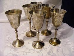 Gyönyörű, ezüstözött, antik 6 db-os talpas pohár, kehely készlet dobozában