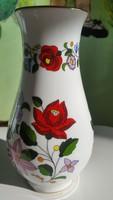 Kalocsai Hungary Handpainted 0107 számu rózsa váza 19cm magas, a váza hasa 10cm