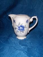 Régi Budapest ex Hüttl Tivadar / Aquincum porcelán kék rózsás tej tejszín kiöntő 9,5 cm magas (p)