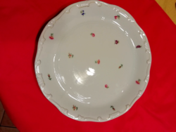 Zsolnay tollazott porcelán virág mintás süteményes tál 29.5 cm