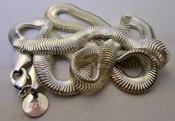 Csodaszép széles, ezüst kígyó nyaklánc