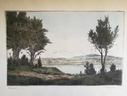Eladó Gross Arnold színes, hibátlan rézkarca: Dunapart