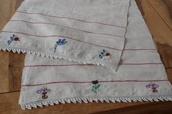 Antik kézi hímzett len vászon dísz törölköző terítő népi hagyományőrző hagyományos 180 x 45