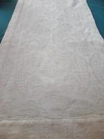Vastag, nyers-fehér jacquard asztali futó, 145 x 33 cm
