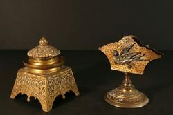 XIX. sz. Íróasztal Szett Tintatartó és Levéltartó Kalamáris Íróasztaldísz