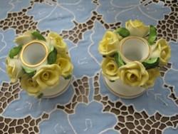 Herendi 8 sárga rózsás gyertyatartó párban! RITKA