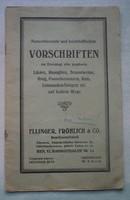 Ellinger,Fröhlich & Co. Vorschriften 1909. Wien  Hornbostelgasse 2a