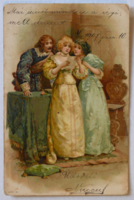 Üdvözlőlap, 1905 előtt (pb: 1907): barokk ruhás társaság