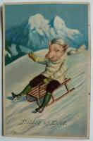 Vidám újévi képeslap szánkózó malaccal, 1918 (pb)