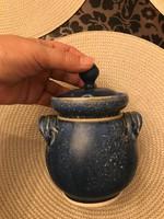 Szép nagyobb kék kerámia fűszertartó jelzett