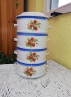 4 részes +tetős porcelán ételhordó, epres ételhordó,ételes. Gyűjtői darab