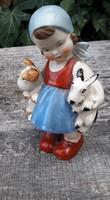 Német porcelán kislány kutyusokkal