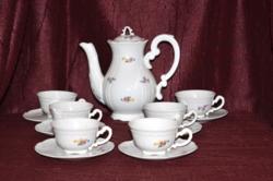 Barokkos, szórt virágos Zsolnay kávés készlet  ( DBZ 00102 )