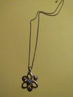 Antik akvamarin köves aranyozott ezüst medállal nyaklánc