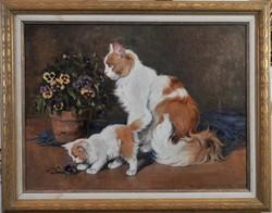 Rainerné Istvánffy Gabriella (1875-1964): Két cica virágcseréppel