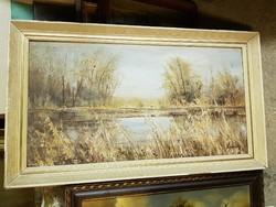 Kováts szignós vízpart, susnyás, szép képcsarnokos keretben, 45x70+keret