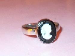 Camea kézműves Tibeti ezüst  Gyűrű 8-as