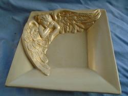 Angyalkás majolika  asztal közép kínáló régi antik darab,hibátlan