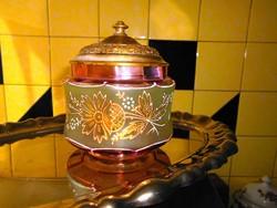 Antik zománc festett üveg cukortartó eredeti fém tetővel
