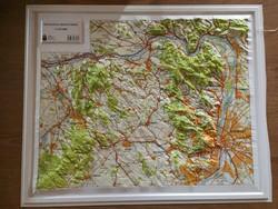 Dunazug– hegyvidék 3D műanyag domborzati térkép MH Zrínyi