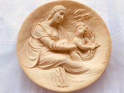 Madonna Beata alabástrom kő relief tányér