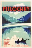 Horgászat Skóciában, csónak, tó, hegyek,híd. Vintage/antik reklám hirdetés plakát reprint