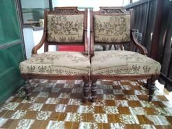 Antik ónémet fotel, karfás szék párban