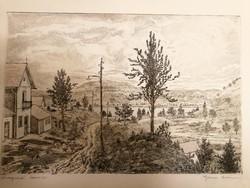 Eladó Gross Arnold rézkarca: Visegrádi házak, gyönyörű állapotban