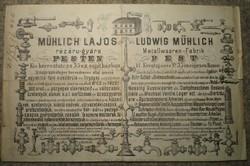 Mühlich Lajos / orosz nyelvű számla.Pest 1871