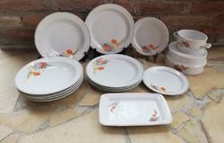 Hollóházi pipacsosok, pipacsos tányér, tányérok, tál. Porcelán.