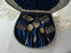 Antik  Ritka!Masszív ezüst 800-as félhold korona mester jelzett  Hildesheimer rose 6 szem. teás/kávé