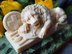 """A Carved Ivory Group. """"Lion of Lucerne""""."""