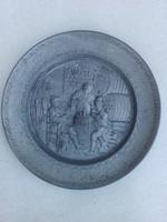 Kerek falikép ónból 19 cm - jelzett