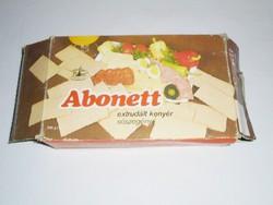 Retro Abonett extrudált kenyér papír doboz - Új Világ MGTSZ Abony - 1989-es évből