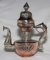 Régi Sárkányokkal Díszített,Tibeti ezüst és Réz Kanna ,Kézzel Készült ,Trébelt,Tisztított,Hibátlan!