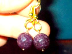 Opak Rubin fazettált csiszolású Gyöngy Aranyozott kézműves Fülbevaló