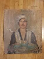 Kolár Nándorné Staub Cecilia/Cili viseltes olajfestménye, 60x70, vastag karton
