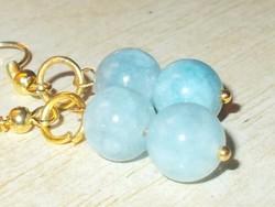 Természetes Akvamarin ásvány Gyöngy kézműves Aranyozott Fülbevaló