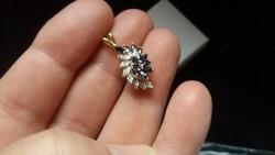 Gyémánt és zafír arany 14kr. ékszer .Tanúsítvány van!