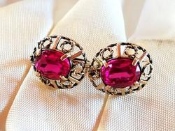 Arany fülbevaló rubin kővel (14k)