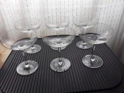 6 db kora retro, 60-as évekbeli hotel pezsgős üveg pohár magyar hotel felszolgálásból