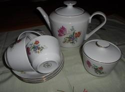 Kahla virágos teáskészlet: csésze, teáskanna, cukortartó (NDK, kelet-német porcelán)