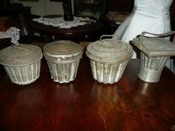 4 db antik sütőforma teljesen használható szép állapotban