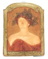 Szecessziós  kerámia nagyméretű fali kép 43 x 57 cm