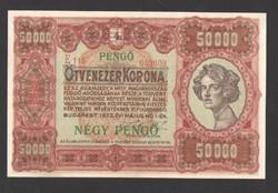 """50000 korona 1923. """"4 PENGŐ"""" felülbélyegzés!!  aUNC!!  GYÖNYÖRŰ!!  RITKA!!"""